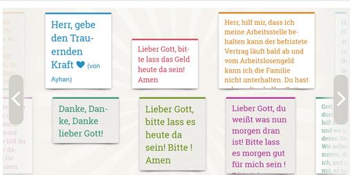 Gebete auf der Gebetswand von Bayern-evangelisch.de